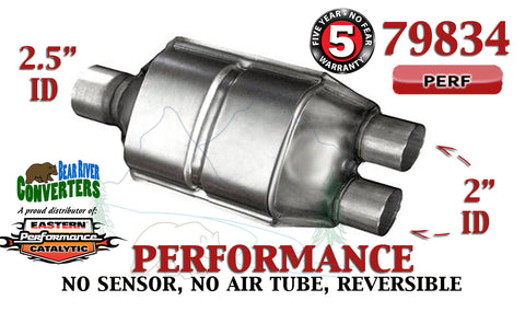 "79834 Eastern Performance Catalytic Converter 2.5"" Single/ 2"" Dual Pipe 12"" Body - Bear River Converters"