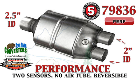 "79836 Eastern Performance Catalytic Converter 2.5"" Single/ 2"" Dual Pipe 12"" Body - Bear River Converters"