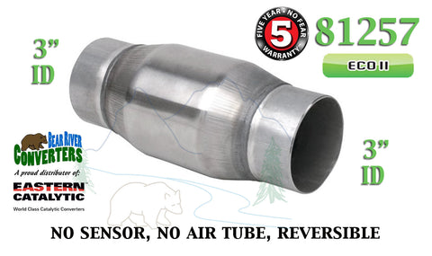 "81257 Eastern Universal Catalytic Converter ECO II 3"" Pipe 4.75"" Bullet Body - Bear River Converters"
