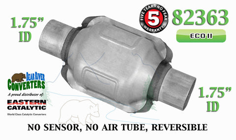 "82363 Eastern Universal Catalytic Converter ECO II 1.75"" 1 3/4"" Pipe 6"" Body - Bear River Converters"
