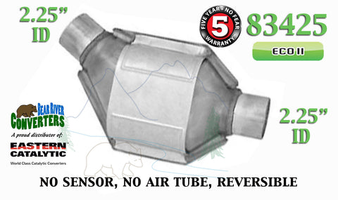 "83425 Eastern Universal Catalytic Converter ECO II 2.25"" 2 1/4"" Pipe 8"" Body - Bear River Converters"