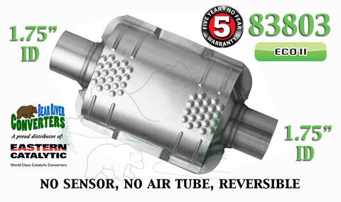 "83803 Eastern Universal Catalytic Converter ECO II 1.75"" 1 3/4"" Pipe 8"" Body - Bear River Converters"