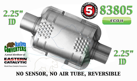 "83805 Eastern Universal Catalytic Converter ECO II 2.25"" 2 1/4"" Pipe 8"" Body - Bear River Converters"