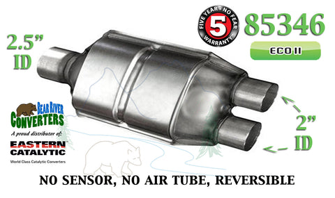 "85346 Eastern Universal Catalytic Converter 2.5"" Single / 2"" Dual Pipe 12"" Body - Bear River Converters"