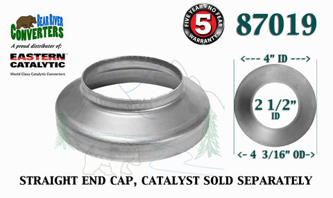 "87019 Eastern Universal Tube Catalytic Converter Straight End Cap 2.5"" Pipe - Bear River Converters"