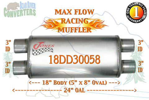 "18DD30058 Jones MF2469 Max Flow Racing Muffler 18"" Oval Body 3"" Pipe Dual/Dual 24"" OAL - Bear River Converters"
