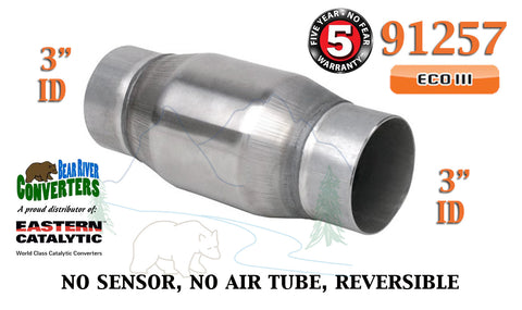 "91257 Eastern Universal Catalytic Converter ECO III 3"" Pipe 4.75"" Bullet Body - Bear River Converters"