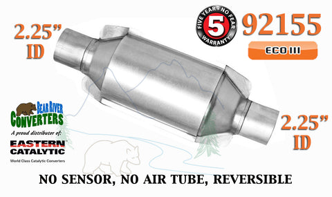 "92155 Eastern Universal Catalytic Converter ECO III 2.25"" 2 1/4"" Pipe 10"" Body - Bear River Converters"