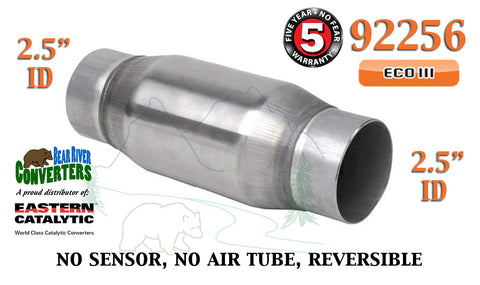 "92256 Eastern Universal Catalytic Converter ECO III 2.5"" Pipe 6"" Bullet Body - Bear River Converters"