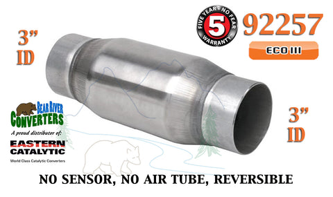 "92257 Eastern Universal Catalytic Converter ECO III 3"" Pipe 6"" Bullet Body - Bear River Converters"