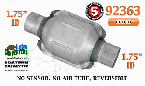 "92363 Eastern Universal Catalytic Converter ECO III 1.75"" 1 3/4"" Pipe 6"" Body - Bear River Converters"
