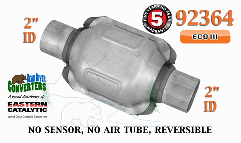 "92364 Eastern Universal Catalytic Converter ECO III Catalyst 2"" Pipe 6"" Body - Bear River Converters"