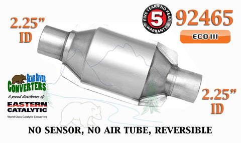 "92465 Eastern Universal Catalytic Converter ECO III 2.25"" 2 1/4"" Pipe 8"" Body - Bear River Converters"