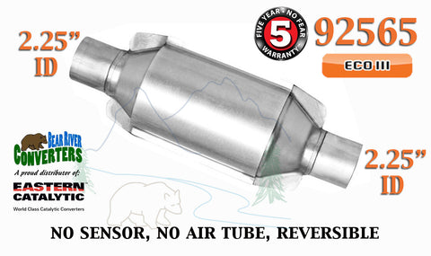 "92565 Eastern Universal Catalytic Converter ECO III 2.25"" 2 1/4"" Pipe 10"" Body - Bear River Converters"