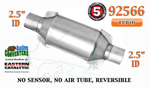 "92566 Eastern Universal Catalytic Converter ECO III 2.5"" 2 1/2"" Pipe 10"" Body - Bear River Converters"