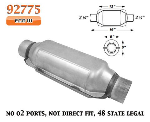 "Catalytic Converter 2.25"" 2 1/4"" Pipe 12"" Body for Neon Ram Lancer"
