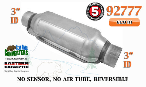 "92777 Eastern Universal Catalytic Converter ECO III Catalyst 3"" Pipe 12"" Body - Bear River Converters"