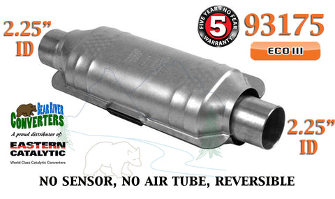 "93175 Eastern Universal Catalytic Converter ECO III 2.25"" 2 1/4"" Pipe 12"" Body - Bear River Converters"
