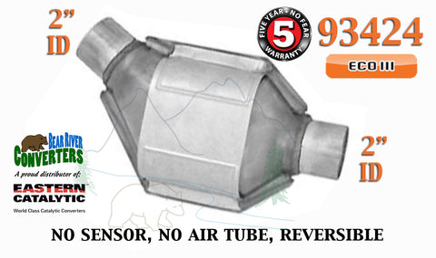 "93424 Eastern Universal Catalytic Converter ECO III Catalyst 2"" Pipe 8"" Body - Bear River Converters"