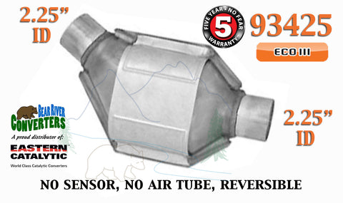 "93425 Eastern Universal Catalytic Converter ECO III 2.25"" 2 1/4"" Pipe 8"" Body - Bear River Converters"