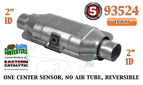 "93524 Eastern Universal Catalytic Converter ECO III Catalyst 2"" Pipe 12"" Body - Bear River Converters"