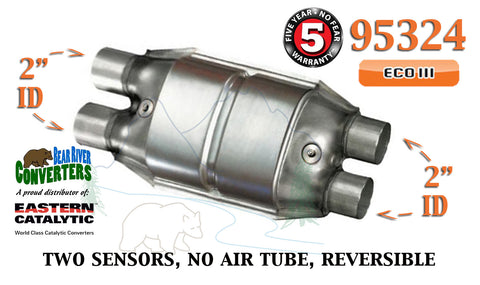"95324 Eastern Universal Catalytic Converter ECO III 2"" Dual Pipe 12"" Body - Bear River Converters"