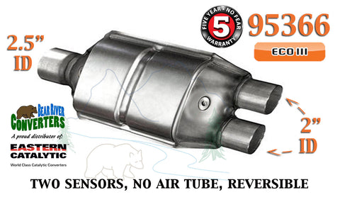 "95366 Eastern Universal Catalytic Converter 2.5"" Single / 2"" Dual Pipe 12"" Body - Bear River Converters"