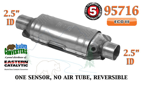 "95716 Eastern Universal Catalytic Converter ECO III 2.5"" 2 1/2"" Pipe 14"" Body - Bear River Converters"