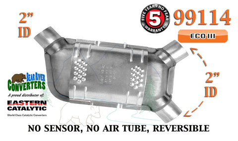 "99114 Eastern Universal Catalytic Converter ECO III 2"" Angle Pipe 12.5"" Body - Bear River Converters"