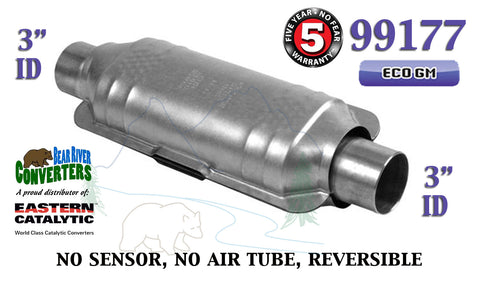 "99177 Eastern Universal Catalytic Converter ECO GM Catalyst 3"" Pipe 12"" Body - Bear River Converters"