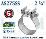 "AS275SS 2.75"" 2 3/4"" Genuine Torca AccuSeal Stainless Steel Band Exhaust Clamp - Bear River Converters"