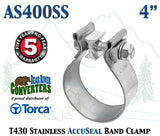 "AS400SS 4"" Genuine Torca AccuSeal Stainless Steel Narrow Band Exhaust Clamp"