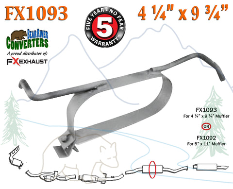 "FX1093 Muffler Strap Exhaust Repair 4 1/4"" x 9 3/4"" w/ Bracket Hanger Rod - Bear River Converters"