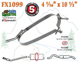 "FX1099 Muffler Strap Exhaust Repair 4 1/16"" x 10 1/2"" w/ Bracket Hanger Rods - Bear River Converters"