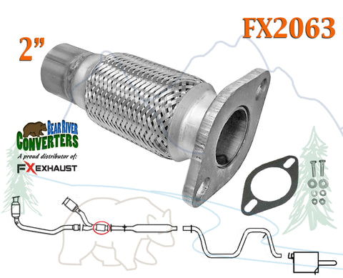 FX2063 Semi Direct Fit Exhaust Flange Repair Flex Pipe Replacement Kit With Gasket - Bear River  sc 1 st  Bear River Converters & FX2063 Semi Direct Fit Exhaust Flange Repair Flex Pipe Replacement ...