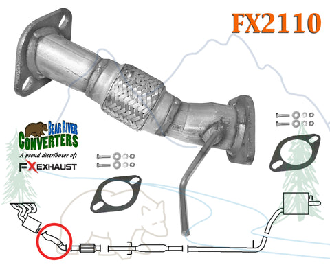 FX2110 Direct Fit Exhaust Flange Repair Flex Pipe Replacement Kit w/ Gaskets