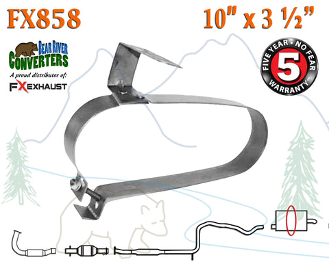 "FX858 Muffler Strap Exhaust Repair 10"" x 3 1/2"" w/ Bracket Hanger Rod - Bear River Converters"