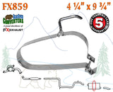"FX859 Muffler Strap Exhaust Repair 4 1/4"" x 9 3/4"" w/ Bracket Hanger Rod"