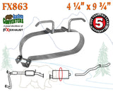"FX863 Muffler Strap Exhaust Repair 4 1/4"" x 9 3/4"" w/ Bracket Hanger Rod"