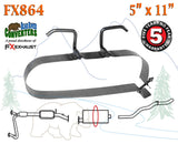 "FX864 Muffler Strap Exhaust Repair Replacement 5"" x 11"" w/ Bracket Hanger Rod - Bear River Converters"