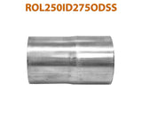 "ROL250ID275ODSS 6485215 2 1/2"" ID to 2 3/4"" OD Stainless Steel Exhaust Pipe to Component Adapter Reducer"