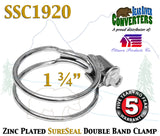 "SSC1920 1.75"" 1 3/4"" SureSeal Heavy Duty Zinc Plated Double Band Exhaust Clamp - Bear River Converters"