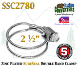 "SSC2780 2.5"" 2 1/2"" SureSeal Heavy Duty Zinc Plated Double Band Exhaust Clamp - Bear River Converters"