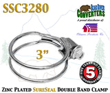 "SSC3280 3"" SureSeal Heavy Duty Zinc Plated Double Band Exhaust Clamp - Bear River Converters"