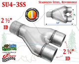 "SU4-3SS Stainless Exhaust Y Pipe Adapter Connector 2 1/2"" Single to 2 1/4"" Dual - Bear River Converters"