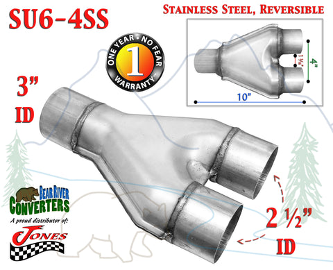 "SU6-4SS Stainless Exhaust Y Pipe Adapter Connector 3"" Single to 2 1/2"" 2.5"" Dual - Bear River Converters"