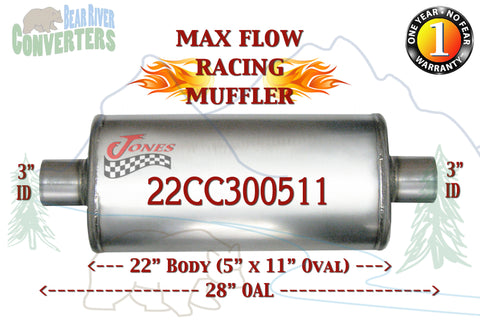 "22CC300511 Jones MF2579 Max Flow Racing Muffler 22"" Oval Body 3"" Pipe Center/Center 28"" OAL - Bear River Converters"