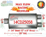 "14CD25058 Jones MF2158 Max Flow Racing Muffler 14"" Oval Body 2 1/2"" 2.5"" Pipe Center/Dual 20"" OAL - Bear River Converters"