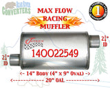 "14OO22549 Jones MF1235 Max Flow Racing Muffler 14"" Oval Body 2 1/4"" 2.25"" Pipe Offset/Offset 20"" OAL - Bear River Converters"