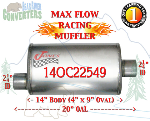 "14OC22549 Jones MF1225 Max Flow Racing Muffler 14"" Oval Body 2 1/4"" 2.25"" Pipe Offset/Center 20"" OAL - Bear River Converters"